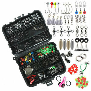 188PCS Fishing Accessories Kit set with Tackle Box Pliers Jig Hooks Swivels US