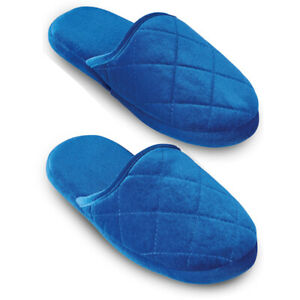 Plush Velvet Quilted Slippers with Rubber Soles
