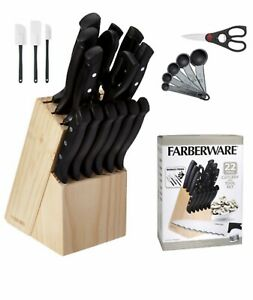 Chef Knife Set Stainless Steel High Carbon With Wood Block Kitchen Steak Cutlery