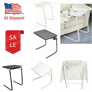 Portable Foldable Adjustable Coffee Table Laptop Tea Desk With Cup Tray White