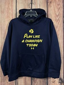 Youth Size XL Under Armour Hoodie Notre Dame Play Like A Champion Today Football $16.96