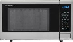Open-Box Excellent: Sharp - Carousel 1.1 Cu. Ft. Mid-Size Microwave - Stainle...