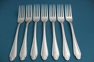 7 Dinner Forks Pfaltzgraff BISCAYNE China 18/8 Stainless 7 3/8