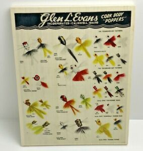 1952 Glen Evens Fishing Lure Chart On Wood Old Fly Rod Lure Print Ad Man Cave
