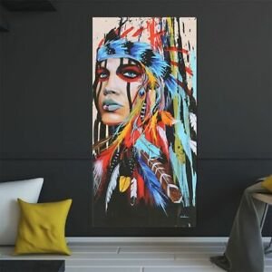 Abstract Indian Woman Canvas Oil Painting Print Picture Home Wall Art Decor hot $10.99