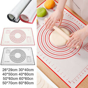 Non Stick Kitchen Rolling Dough Pad Silicone Baking Mat Pastry Kneading Pad US