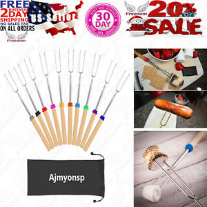 Ajmyonsp Marshmallow Roasting Sticks Smores Skewers with Wooden Handle 32Inch