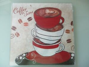 GLASS CUTTING BOARD CLOSE TO 8 IN SQUARE SHAPE COFFEE TIME STYLE FREE SHIPPING