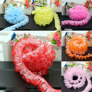 Ribbon DIY Double Lace Pleated 2yds Ruffle Width Tulle Layer 1.96#x27;#x27; Trim Sewing $1.89