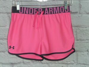 Under Armour Girls' Heat Gear Workout Gym Shorts Pink Gray Graphics Youth Lg YLG $6.95