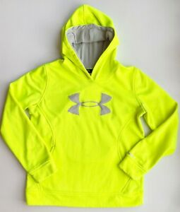 Under Armour Boys Yellow Hoodie Pocket Sweatshirt Size Lg $8.80