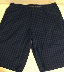 Men's Under Armour HeatGear Flat Front Golf Shorts SZ 36 Blue Black Plaids $19.99