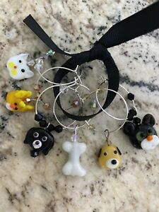 CATS AND DOGS  Wine Glass Charm Rings   SET OF 6