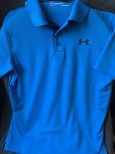 Under Armour boys shirt size Y L youth large athletic Polo golf loose fit Heat $4.99