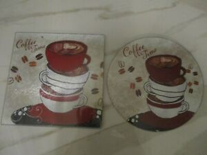 2X GLASS CUTTING BOARDS COFFEE TIME ONE ROUND AND ONE SQUARE FREE SHIPPING
