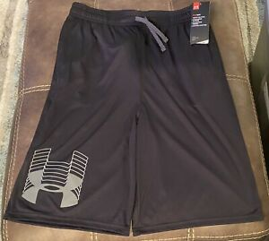 Boys Size Youth XL Under Armour Loose Basketball Short Black Gray New With Tags $12.99