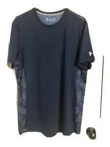 Under Armour Shirt XL Blue Camo Fitted Heatgear w Logo $14.00