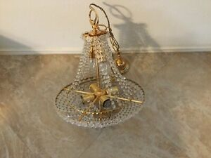 Antique Elegant Looking Gold Color Crystal Chandelier New Open Box Read Info