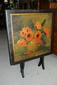 Antique Folding Card Table with Lithograph By Max Streckenbach $699.00