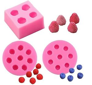 3Pcs 3D Mini Strawberry Raspberry Blueberry Silicone Molds Cake Candy Craft DIY