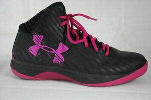 Under Armour Basketball Athletic Shoes Womens 10 Jet Black Pink 1259035 064 $29.99