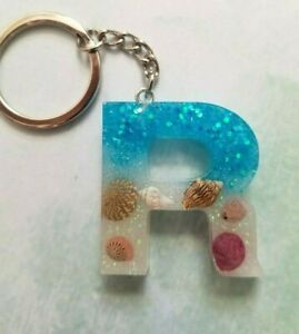 Keychain key ring Resin Seashells Letter R blue and holographic glitter