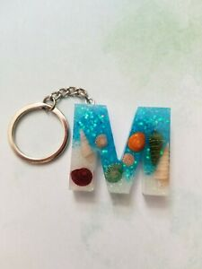 Keychain key ring Resin Seashells Letter M blue and holographic glitter
