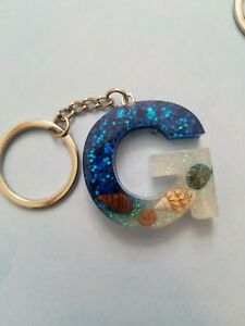 Keychain key ring Resin Seashells Letter G blue and holographic glitter