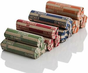 J Mark Neatly Packed Flat Coin Roll Wrappers, MADE IN USA, 200 Pack Quarters, D