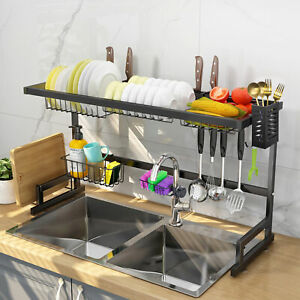 2 Tier Stainless Steel Dish Drying Rack Over Sink Kitchen Cutlery Drainer Holder $49.99