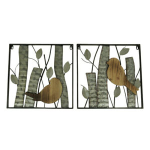 Zeckos Rustic Birds and Branches 2 Piece Wood and Metal Wall Sculpture Set $49.98