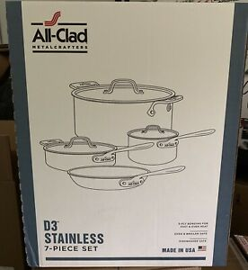 NEW SEALED All-Clad 7 Piece D3 Stainless Steel Cook Set 8400000263