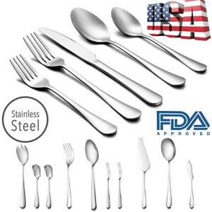 50 Pcs Stainless Steel Flatware Set Service for 8 Kitchen Cutlery Silverware $50.59