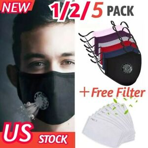 Cotton Face Mask With 2Filters Washable Reusable Activated Carbon respirator Lot