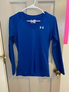 Under Womens XSmall Blue Long Sleeve V Neck Shirt $10.00