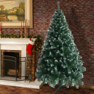 6FT Artificial Christmas Tree Green White Fir tree w Base Home Decor