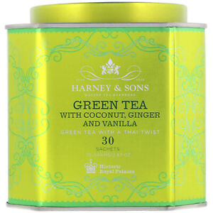 Harney   Sons  Green Tea with Coconut  Ginger and Vanilla  30 Sachets  2 67 oz