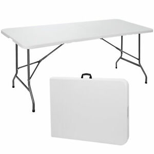 6#x27; Portable Folding Table Plastic Indoor Outdoor Picnic Party Camp Dining White $55.99