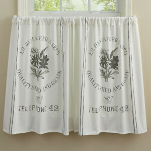 New Shabby French Country Farmhouse WHITE FEED SEED SACK VINTAGE Tiers Curtains