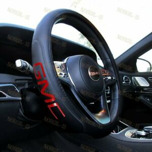 New Real Leather For GMC Black New 15quot; Diameter Car Auto Steering Wheel Cover