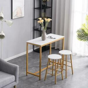 Hot Style 3 Piece Marble Dining Set Table 2 Stools Pub Home Kitchen Breakfast