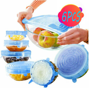 🔥 6pcs Reusable Silicone Stretch Lids Wraps Cover Various US