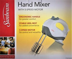 Sunbeam Electric Hand Mixer Whisk 5 Speed with Stainless Steel Attachments