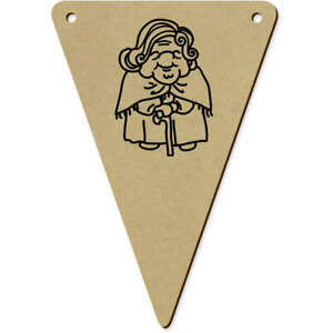5 x 140mm #x27;Old Lady#x27; Wooden Bunting Flags BN00044109