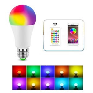 E27 Bulb 5 15W Dimmable LED RGB Light Lamp Remote Controller Bluetooth Control $5.68