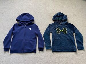 UNDER ARMOUR Boys Lot of 2 Blue Sweatshirts Hoodie Zip Front & Hoodie Size Small $16.95