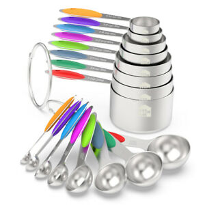Colorful Stainless Steel Measuring Cups & Spoons 16-Piece Set, 8 Cups & 8 spoons