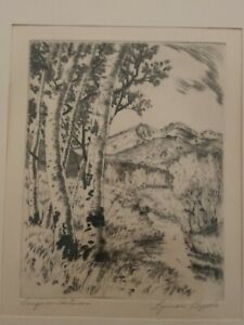 Lyman Byxbe original pencil signed Etching Long's in Autumn 6