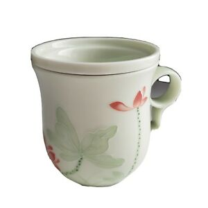 Teavana Ceramic Porcelain Tea Cup Infuser with Strainer Green Asian Floral Theme