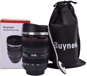 13.5 Oz Camera Lens Coffee Mug Cup Stainless Steel Travel Insulated Cup With Lid